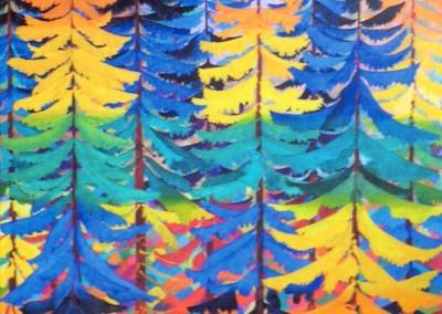 Spektralfarben des Fichtenwaldes, 55x75, 2015