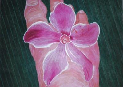 Orchideenfuß, 50x40, 2010, Öl auf Presspappe