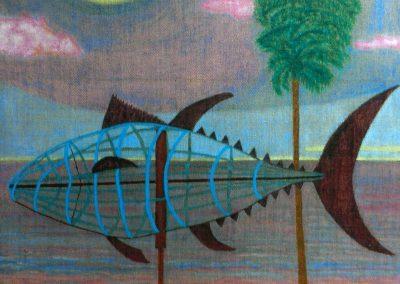 Vollmond ueber Thunfischkueste, 50x70, 2018