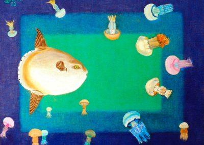 Mondfisch und Quallen, 50x40cm, 2020