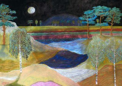 Die Heide im Mondlicht, 70x50 cm, Pastell auf Presspappe, 2021