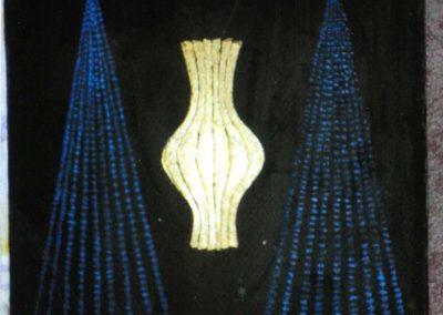Die goldene Vase, 24x32 cm, Öl auf Aquarellpapier, 2020