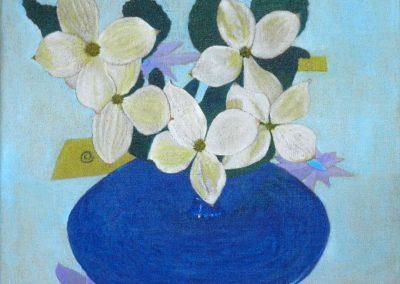 Dogwood in blauer Vase, 30x30 cm, Öl auf Leinwand, 2020