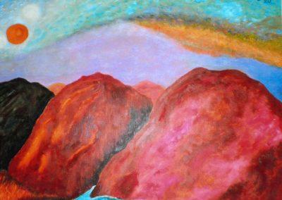 Eifelberge, 70x50cm, Öl auf Presspappe, 2020